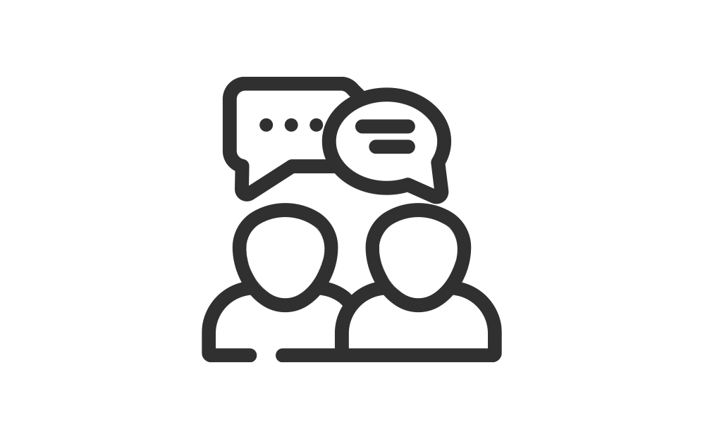 Vector icon of two people talking, psychotherapy